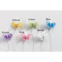1 inch White Nylon Mesh Butterfly/Butterflies Wire stem