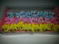 24 Mini Yellow, Blue, Pink Fuzzy Chenille Chicks