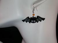 New Handcrafted Earrings- Wood Smiling Black/Gray 1 3/4 inch Bats w/Orange bead