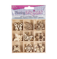 45 Pc Butterfly, Flower: Flat, Laser cut Wooden Embellishment Accents (5 of each shape, approx. 1 1/4 in size)