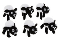 6 Pom Pom Black and White Easter Lambs or Sheep -1 5/8 in long by 1 1/2 in tall