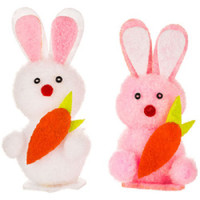 6 Chenille 2 1/2 inches Easter Bunny or Rabbit w/carrrots (3 Pink and 3 White)