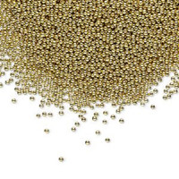 1 Tube of Micro 1mm Glass Undrilled Beads Gold Metallic