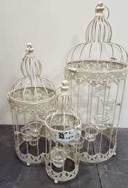 set of 3 birdcages with tealight