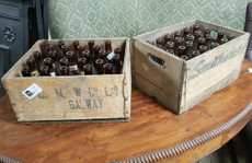 old beer crates with bottles