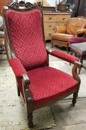 Red carver arm chair
