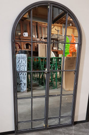 curved mirror with doors black
