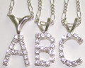 Silver Necklace with Crystal Initial