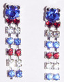 Crystal 2 strand red, white & blue earrings.