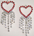 Valentine Red Heart Crystal Earrings