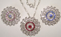 Filigree necklace with 3 options for color of crystals