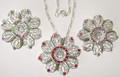 Filigree necklace with 3 choices of color crystals, set 2