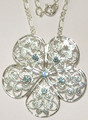 Filigree necklace with Aquamarine Crystals
