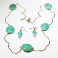 Necklace/earrings set - turquoise color stones/gold banana chain