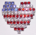 Crystal Heart/Flag pin