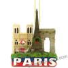 Paris Christmas ornament with the Eiffel Tower, Notre Dame, Arc de Triomphe and the Paris cafe table.