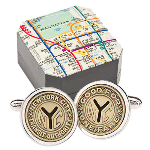 Silver Plated NYC Subway Token Cufflinks