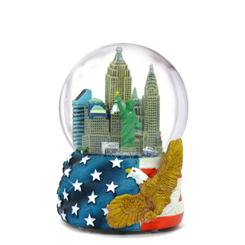 Mini Patriotic NYC Skyline Snow Globe