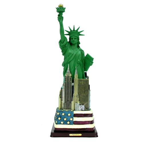 Statue of Liberty Statue w/ Flag Base 12.5 Inch