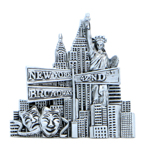 Silver New York City Landmarks Magnet