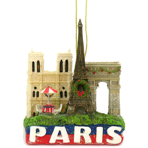 Paris Christmas ornament with the Eiffel Tower, Notre Dame, Arc de Triomphe and the Paris cafe table.