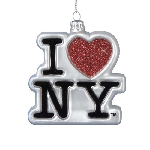 I Love NY Glass Logo Ornament