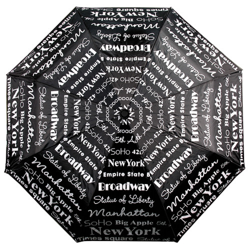 New York Umbrella, Repeat Text, Black and White