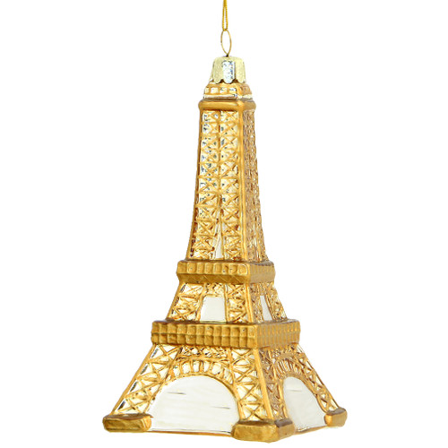 gold eiffel tower christmas ornament in glass