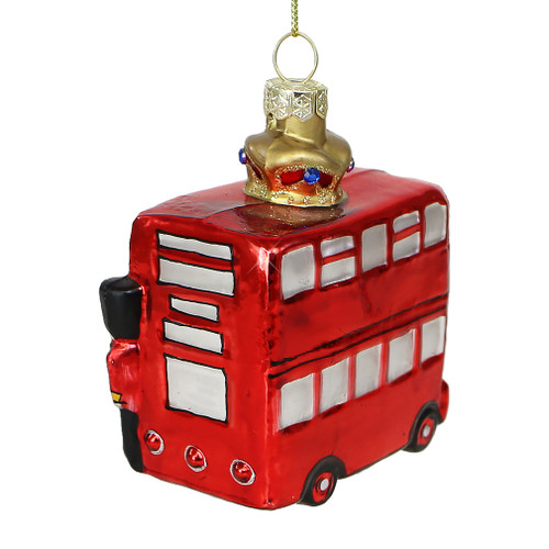 Double Decker Bus and Crown Glass Ornament