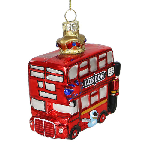 Double Decker Bus London Ornament  Glass