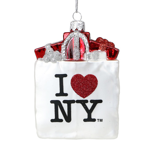 I Love NY Shopping Bag Glass Ornament