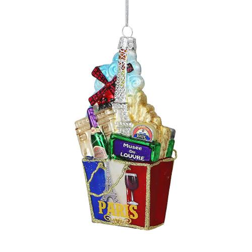 Paris Glass Shopping Bag Ornament