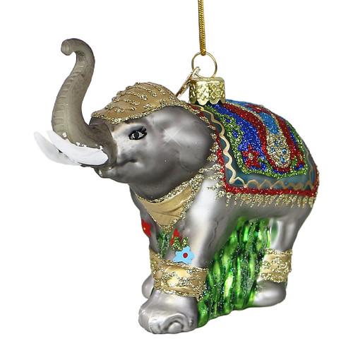 Elephant Glass Christmas Ornament