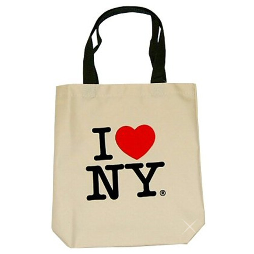 Natural canvas I Love NY tote bag