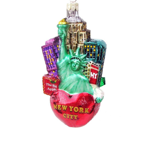 Big Apple New York City Glass Ornament