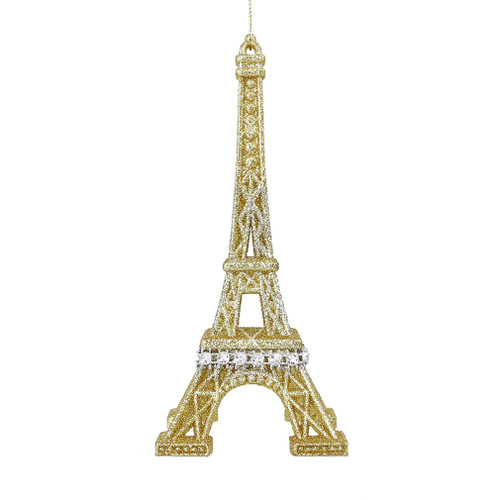 Silver & Gold Glitter Eiffel Tower Ornament - Gold