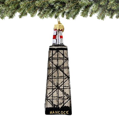 chicago john hancock christmas ornament, glass