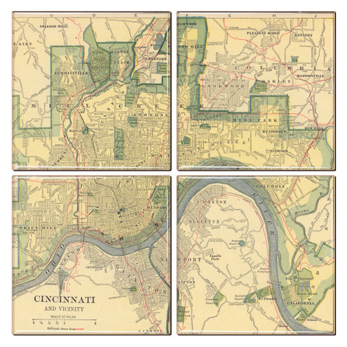 Cincinnati Map Coaster Set of 4