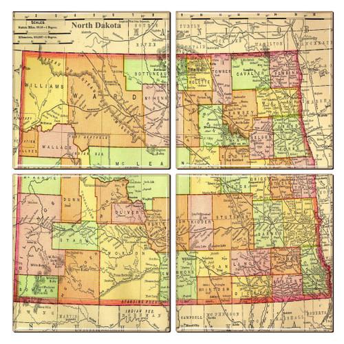 North Dakota Map Coaster Set of 4