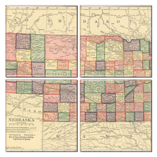 Nebraska Map Coaster Set of 4