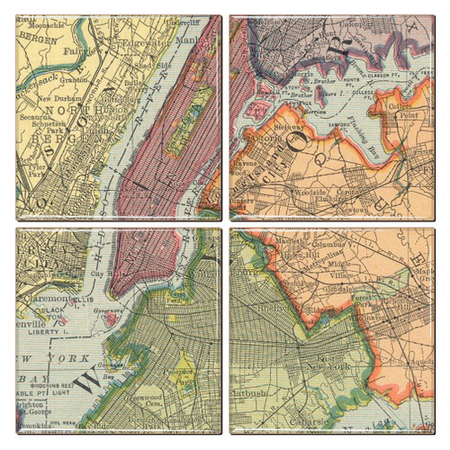 New York City Map Coaster Set of 4