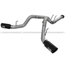 """MACH Force-Xp 4"""" DPF-Back Dual Side Exit Stainless Steel Exhaust System w/6"""" Black Tips; Ford Diesel Truck"""