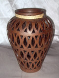 HMB-33 Shoulder Vase Brown with Filigree and Braid