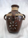 HMB-43A Wall Vase Brown with Braid Filigree