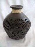 M-41 Flat Vase Brown Filigree with Braid