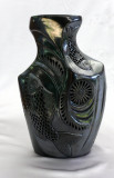 Large Oval Black Clay Milk Bottle with Sea-scape Filligree