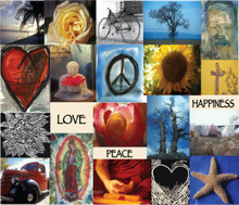 Love, peace & happiness greeting card