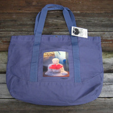 Buddha with Gerber daisy beach/market tote