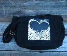 Flaming Heart of Love messenger bag