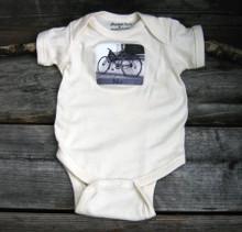 Bike organic cotton baby onesie
